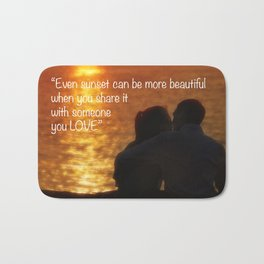 Love is in the air. Romantic sunset for two young lovers. Bath Mat
