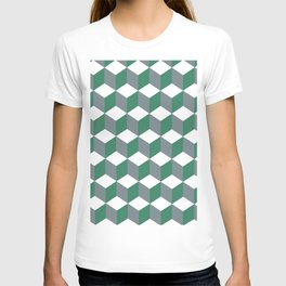 Diamond Repeating Pattern In Quetzal Green and Grey T-shirt
