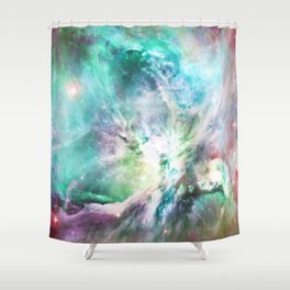 Abstract teal pink cosmic nebula space galaxy Shower Curtain