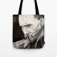 loki Tote Bags featuring Loki by Ruth Ms