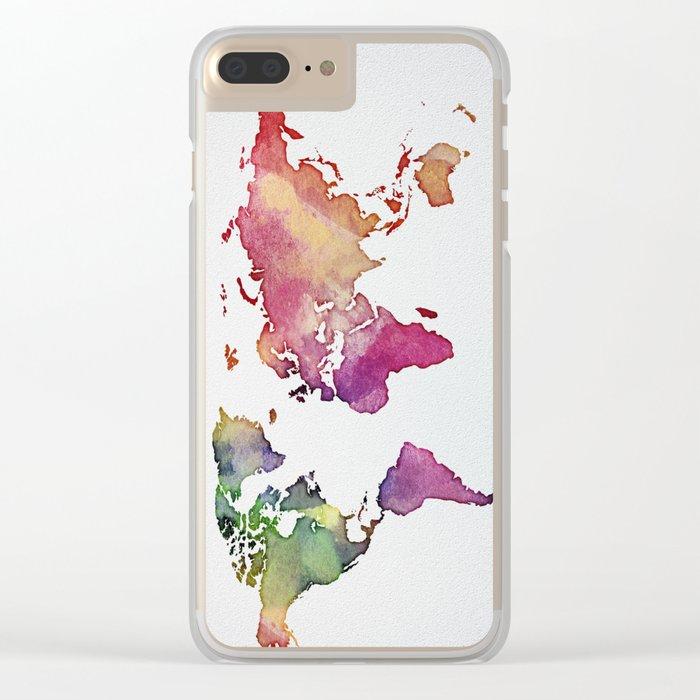 Multicolor World Map 01 Clear iPhone Case