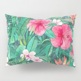 Classic Tropical Garden with Pink Flowers Pillow Sham