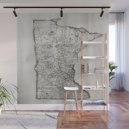 Old Map of Minnesota Wall Mural