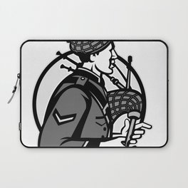 Bagpiper Bagpipes Scotsman Grayscale Retro Laptop Sleeve