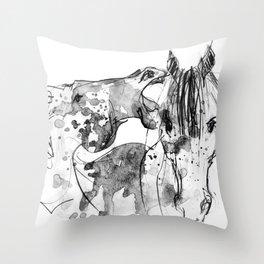 Horses (Socializing) Throw Pillow