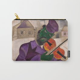 The Green Violinist, France winter scene portrait circa 1924 by Marc Chagall Carry-All Pouch