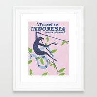 travel poster Framed Art Prints featuring Indonesia vintage travel poster by Nick's Emporium