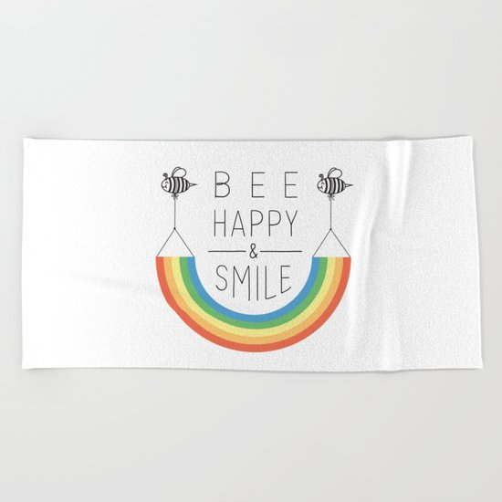 Bee Happy and Smile Beach Towel