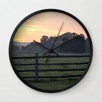 woodstock Wall Clocks featuring Billings Farm Sunrise at Woodstock, Vermont  by Ruben Alexander