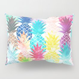 Hawaiian Pineapple Pattern Tropical Watercolor Pillow Sham