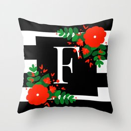 F - Monogram Black and White with Red Flowers Throw Pillow