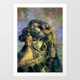 Fine art watercolor painting of elaborately dressed masked person during Carnival in Venice, Italy Art Print
