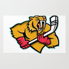 Saber Toothed Cat Ice Hockey Mascot Rug