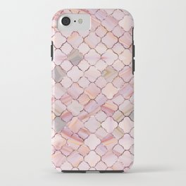 Moroccan Pattern in Marble and quartz crystal Texture iPhone Case