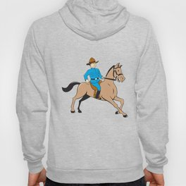 Mounted Police Officer Riding Horse Cartoon Hoody