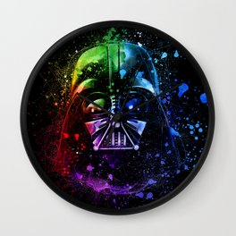 Darth Vader Helmet StarWars Art - Digital Splash Painting Wall Clock