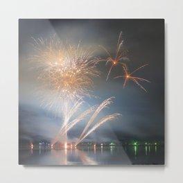 Gold Fireworks Display Metal Print