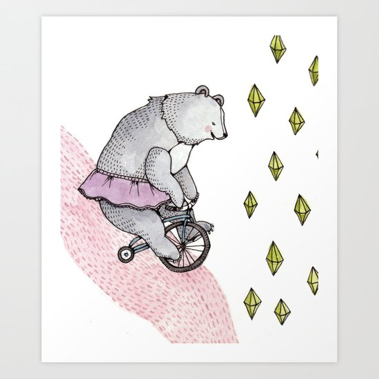 Cycling Bear Art Print