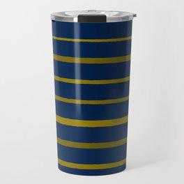 Slate Blue and Honey Gold Stripes Travel Mug