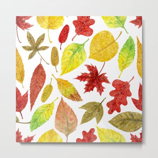 Autumn leaves watercolor white Metal Print
