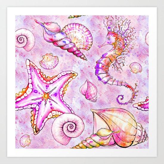 Pink seahorse Art Print