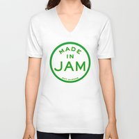 jamaica V-neck T-shirts featuring Made in Jamaica (not Queens) by DCMBR - December Creative Group