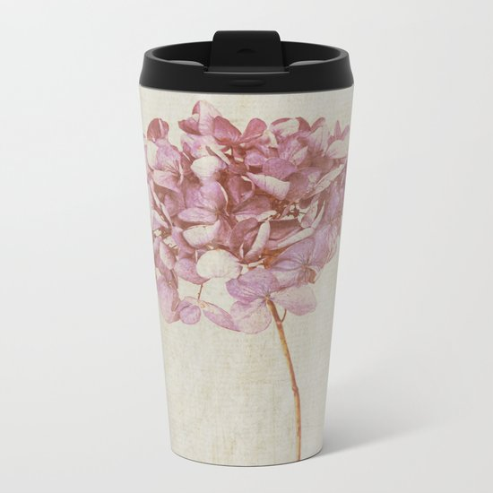 Pink Vintage Hydrangea Metal Travel Mug