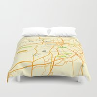 maps Duvet Covers featuring Maps - Pretoria by DRIEHOEK