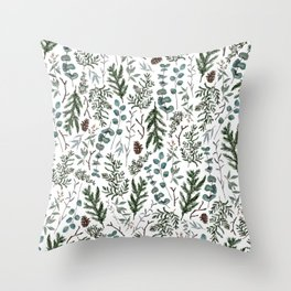 Pine and Eucalyptus Greenery Throw Pillow