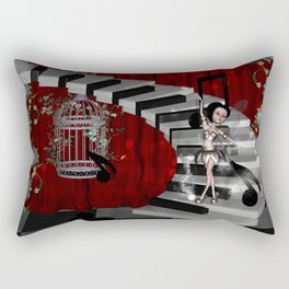 Dancing fairy on the piano Rectangular Pillow