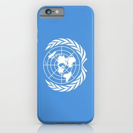 Flag on United nations -Un,World,peace,Unesco,Unicef,human rights,sky,blue,pacific,people,state,onu iPhone Case