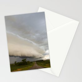 Shelf Cloud Over Country Road 1 Stationery Cards