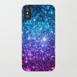 Glitter Galaxy Stars : Turquoise Blue Purple Hot Pink Ombre iPhone Case