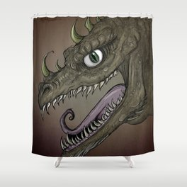 Brown dragon illustration Shower Curtain