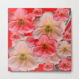 MODERN RED  PINK & CREAM DAYLILIES GARDEN PATTERNS Metal Print
