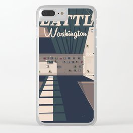 Seattle, Washington state Travel poster Clear iPhone Case