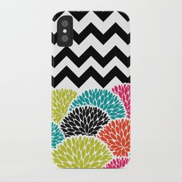Tropical Flowers Chevron iPhone Case