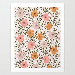 70s Floral Theme Art Print