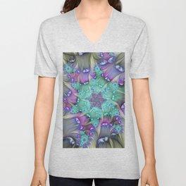 Find Yourself, Abstract Fractal Art Unisex V-Neck