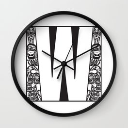 Northwest Pacific Coast American Native Totem White Letter W Wall Clock