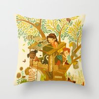 house Throw Pillows featuring Our House In the Woods by Teagan White