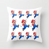 mario Throw Pillows featuring Mario by Maxvision