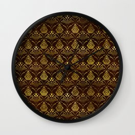 Hamsa Hand pattern -gold on brown glass Wall Clock