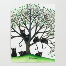 Borders Whimsical Cats in Tree Poster