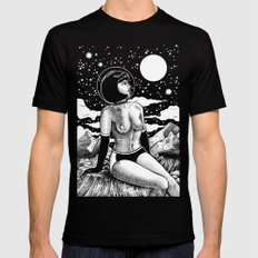 Space Babe Black and White Mens Fitted Tee MEDIUM Black