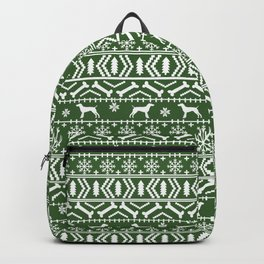 German Shorthair Pointer fair isle christmas holidays dog breed pattern green and white Backpack