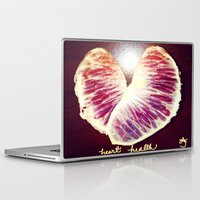 health Laptop & iPad Skins featuring Blood Red Orange Heart Health by ANoelleJay