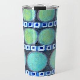 Rows of Blue Iridescent Circles Pattern Travel Mug