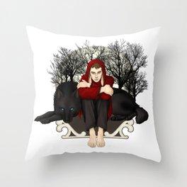 Moon Bunny Throw Pillow