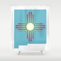 mexico Shower Curtains featuring New Mexico by Korii Carrasco